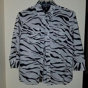 Zebra Print Button Down Blouse